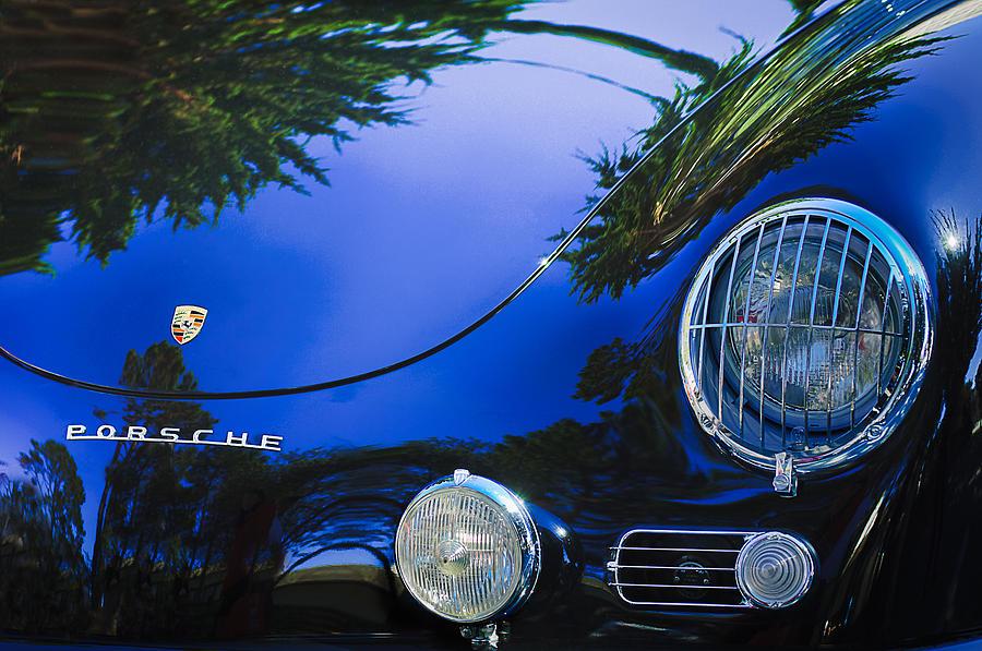 1958 Porsche 356a Sunroof Coupe Hood Emblem Photograph By Jill Reger