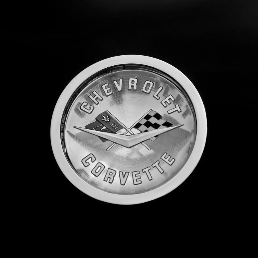 Black And White Photograph - 1960 Chevrolet Corvette Roadster Emblem by Jill Reger