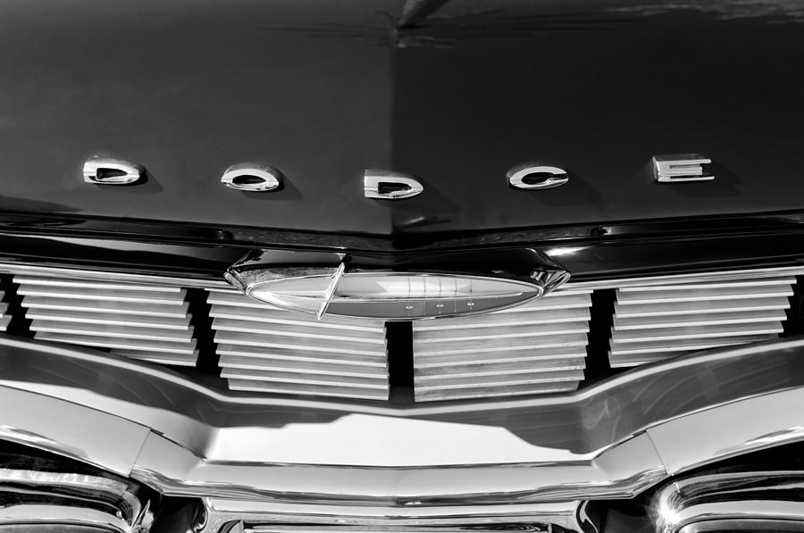 Black And White Photograph - 1960 Dodge Grille Emblem by Jill Reger
