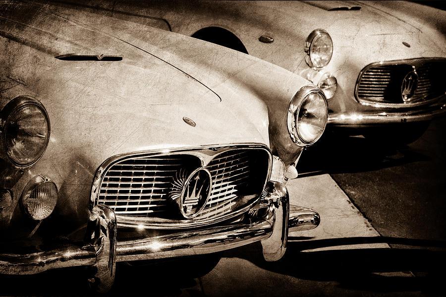 Sepia Photograph - 1960 Maserati Grille Emblem by Jill Reger