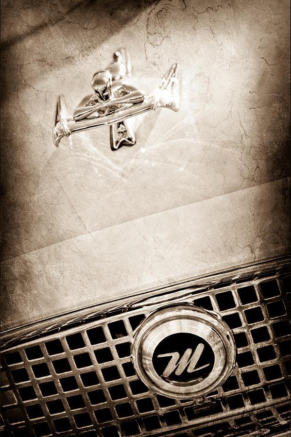 Classic Cars Sepia Photographs Photograph - 1960 Nash Metropolitan Hood Ornament - Grille Emblem by Jill Reger