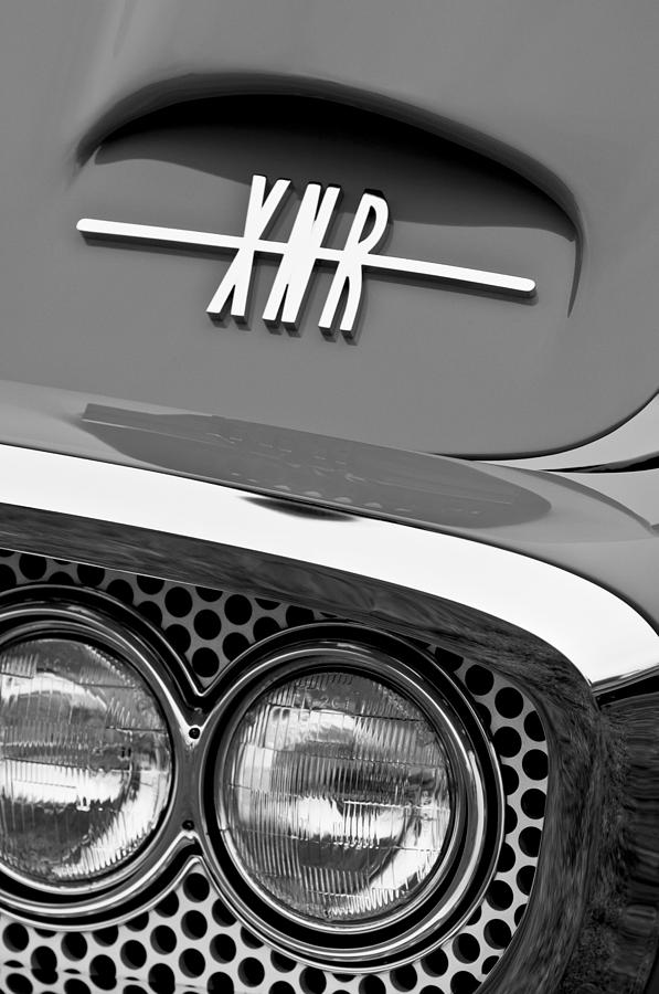 Black And White Photograph - 1960 Plymouth Xnr Ghia Roadster Grille Emblem by Jill Reger