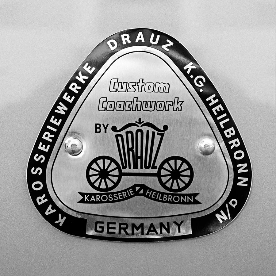 Bw Photograph - 1960 Porsche 356 B 1600 Super Roadster Emblem by Jill Reger