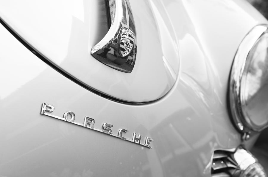 Emblem Photograph - 1960 Porsche 356 B 1600 Super Roadster Hood Emblem by Jill Reger