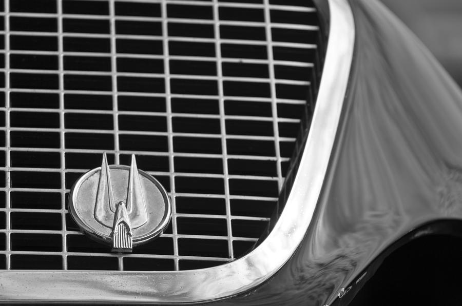 Black And White Photograph - 1960 Studebaker Hawk Grille Emblem by Jill Reger