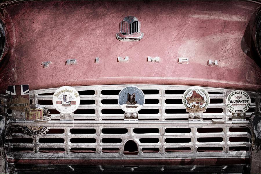 Classic Cars Photograph - 1960 Triumph Tr3 Grille Emblems by Jill Reger