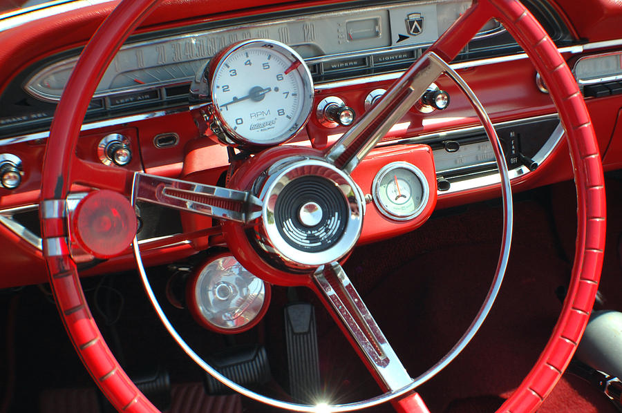 1961 ford galaxie sunliner steering wheel photograph by dj. Black Bedroom Furniture Sets. Home Design Ideas