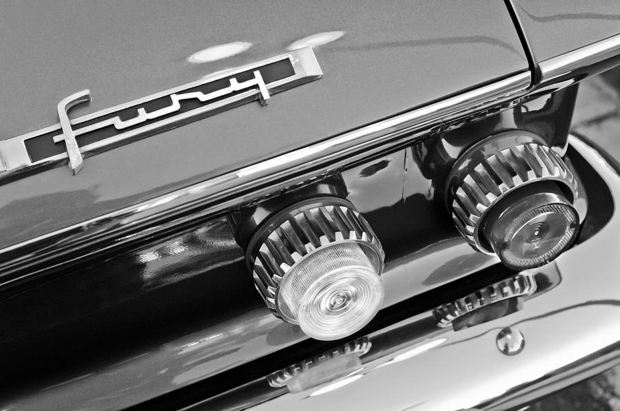 Black And White Photograph - 1962 Plymouth Fury Taillights And Emblem by Jill Reger