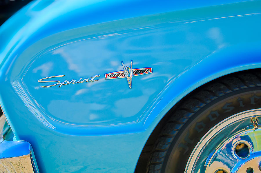 Classic Cars Photograph - 1963 Ford Falcon Sprint Side Emblem by Jill Reger
