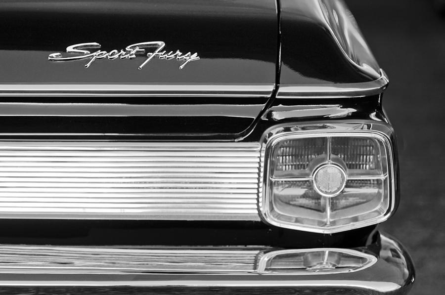 Tail Light Photograph - 1963 Plymouth Sport Fury Taillight Emblem by Jill Reger