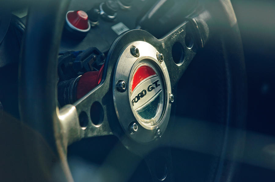 Sports Car Photograph  Ford Gt  Steering Wheel Emblem By Jill Reger