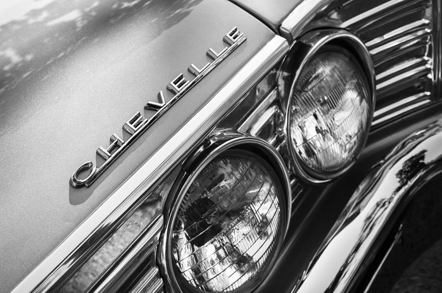 1967 Chevy Photograph - 1967 Chevrolet Chevelle Malibu Head Light Emblem by Jill Reger