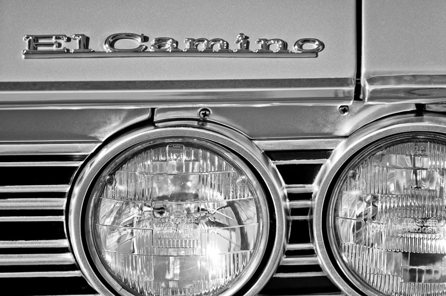 Black And White Photograph - 1967 Chevrolet El Camino Pickup Truck Headlight Emblem by Jill Reger