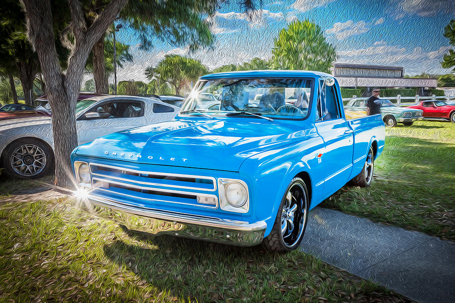 1967 Chevy Silverado Pick Up Truck Painted Photograph By