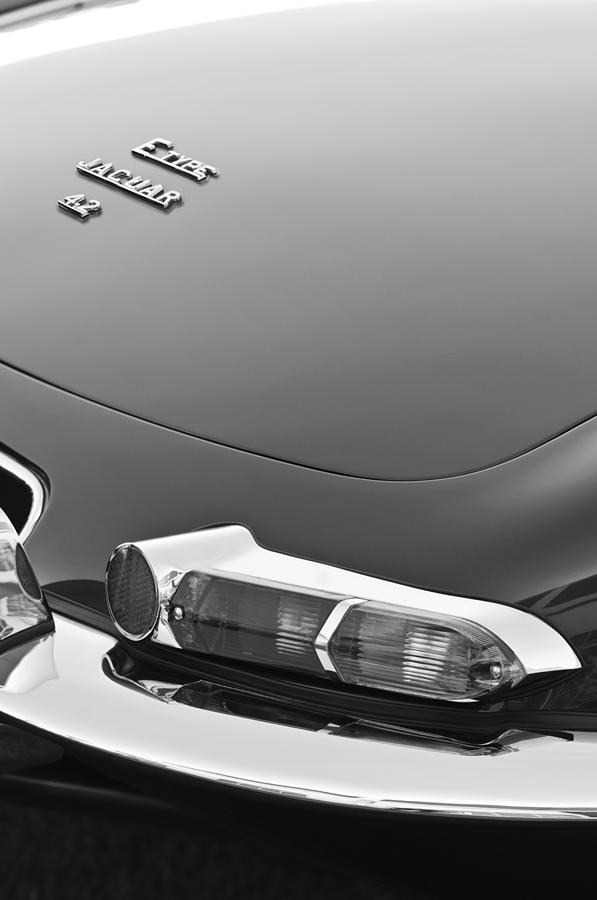 Black And White Photograph - 1967 Jaguar E-type 4.2 Liter Series 1 Roadster Taillight by Jill Reger