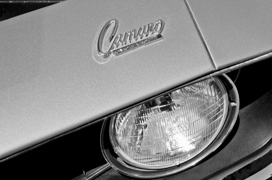 Muscle Car Photograph - 1969 Chevrolet Camaro Headlight Emblem by Jill Reger