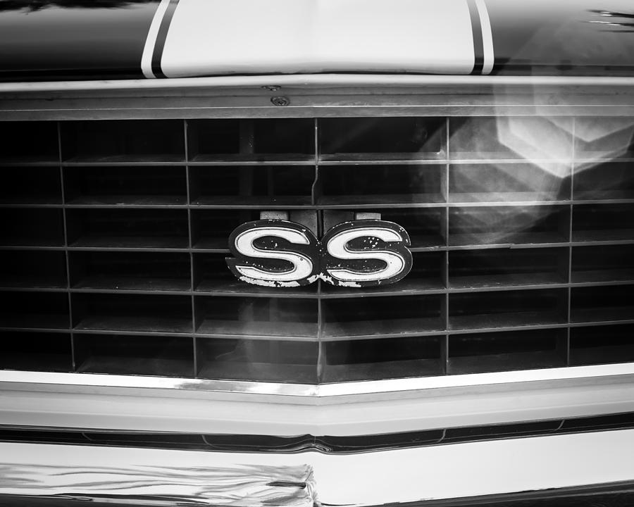 Muscle Cars Photograph - 1969 Chevrolet Camaro Rs-ss Indy Pace Car Replica Grille Emblem by Jill Reger