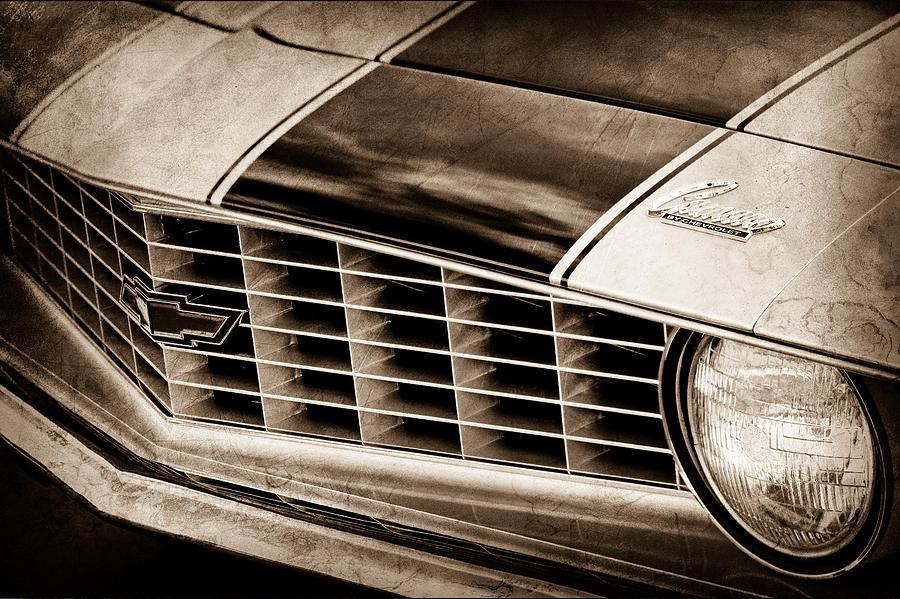 Sepia Photograph - 1969 Chevrolet Camaro Z 28 Grille Emblem by Jill Reger