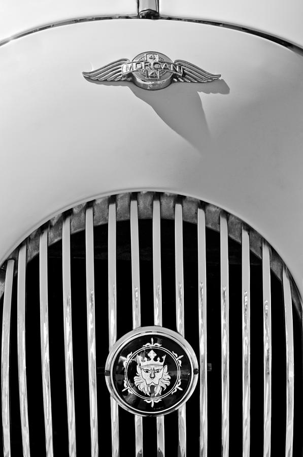 Black And White Photograph - 1969 Morgan Roadster Grille Emblems by Jill Reger