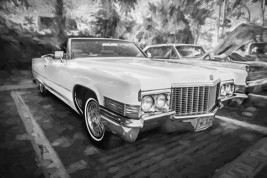 1970 Cadillac Coupe Deville Convertible Painted Bw Photograph By