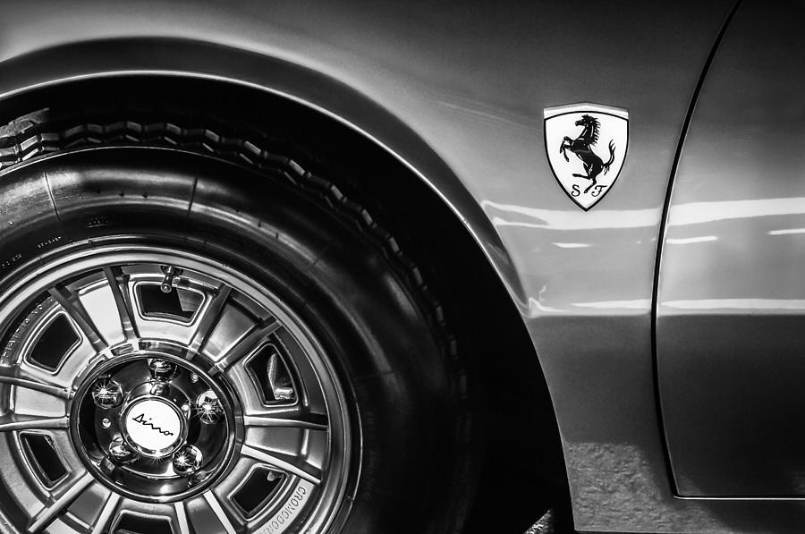 Bw Photograph - 1971 Ferrari Dino Gt Wheel Emblem -027c by Jill Reger