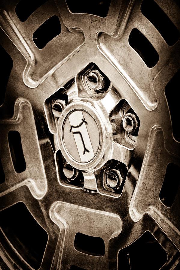 Sepia Photograph - 1972 Detomaso Pantera Wheel Emblem by Jill Reger