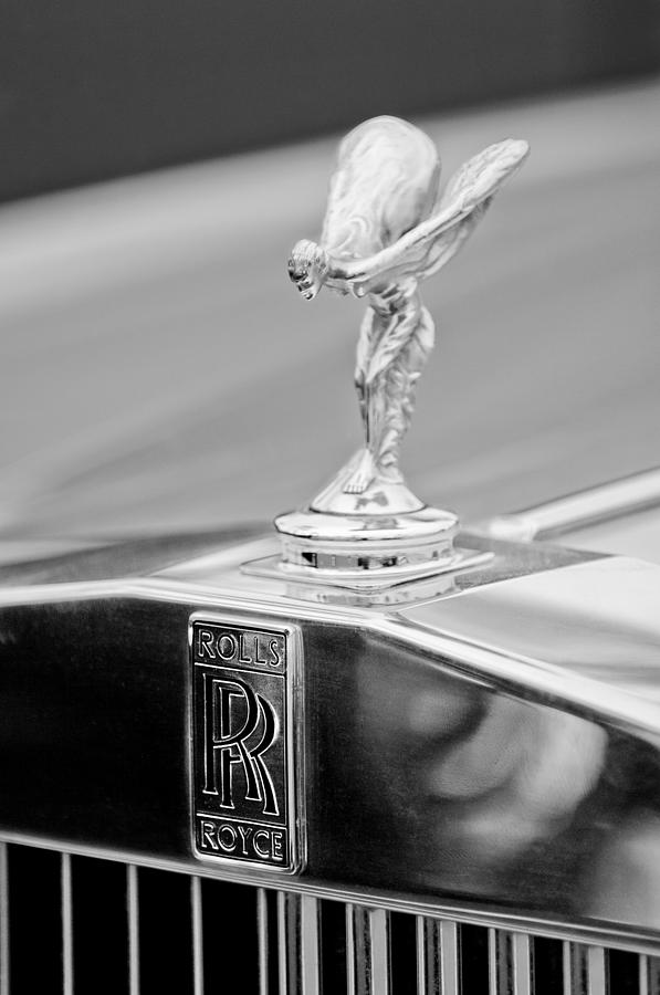Black And White Photograph - 1984 Rolls-royce Silver Spur Hood Ornament by Jill Reger