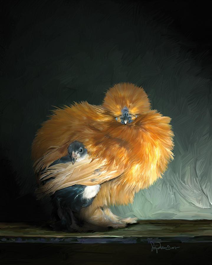 Chicken Digital Art - 20. Hiding by Sigrid Van Dort