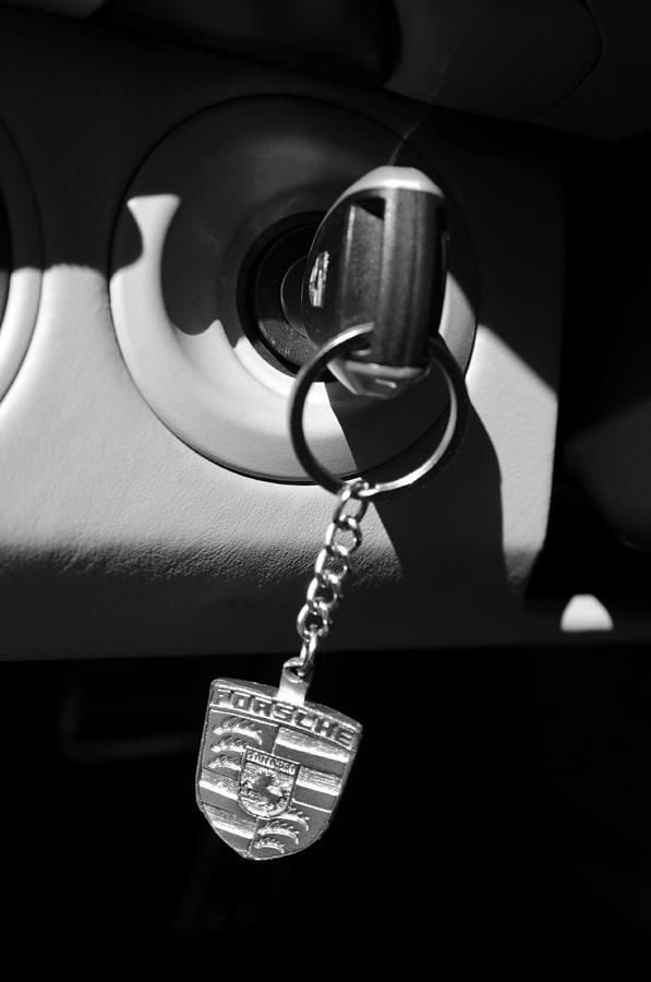 Transportation Photograph - 2008 Porsche Key Ring Black And White by Jill Reger