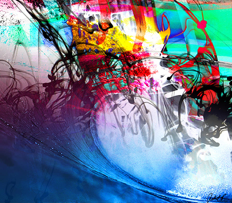 48x41 the scream 2012 blue ocean wave signed art abstract