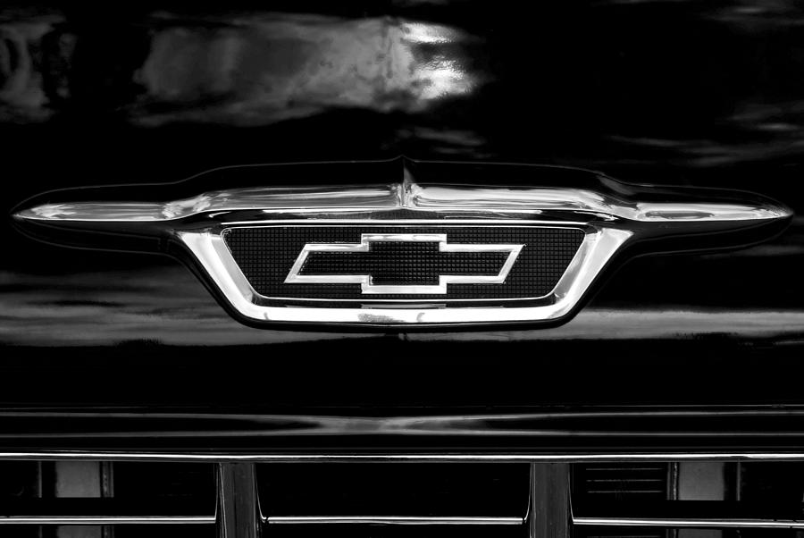 Chevrolet Photograph - 56 Bow Tie In Bw by Don Durante Jr