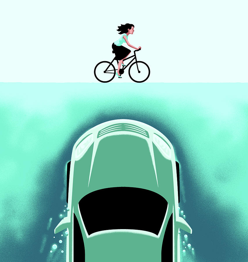 A Car Emerges From The Deep Toward A Bicyclist 1 Drawing by Christoph Niemann