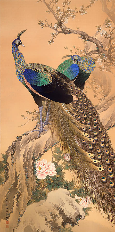 Painting Painting - A Pair Of Peacocks In Spring by Mountain Dreams