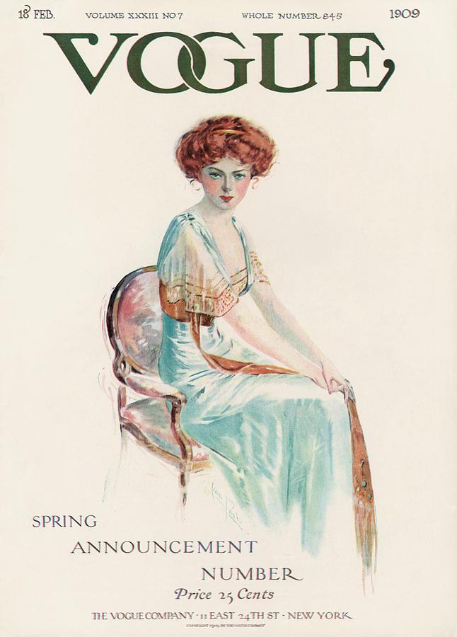 A Vintage Vogue Magazine Cover Of A Woman Photograph by Jean Parke