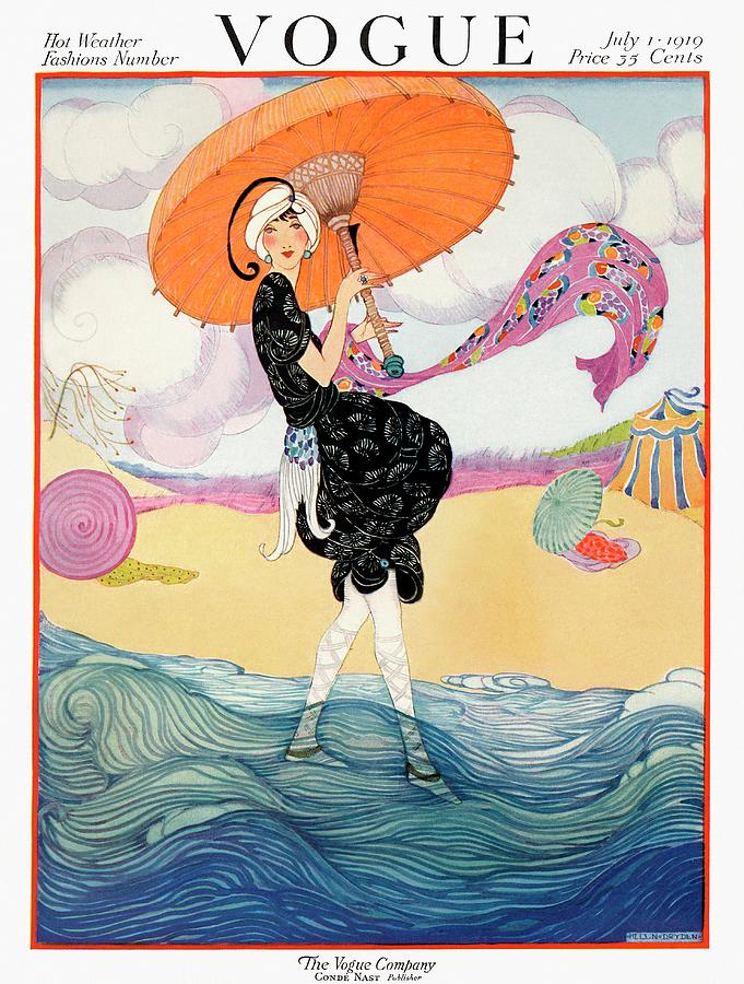 A Vogue Cover Of A Woman On A Beach Painting by Helen Dryden