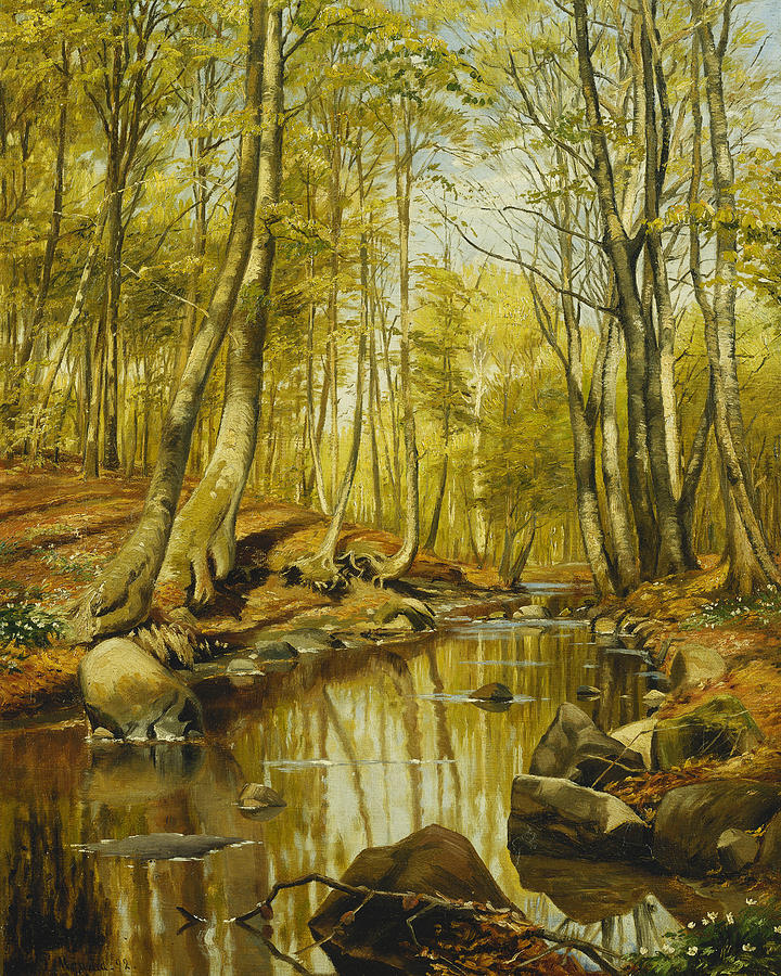 A Wooded River Landscape Painting By Peder Monsted