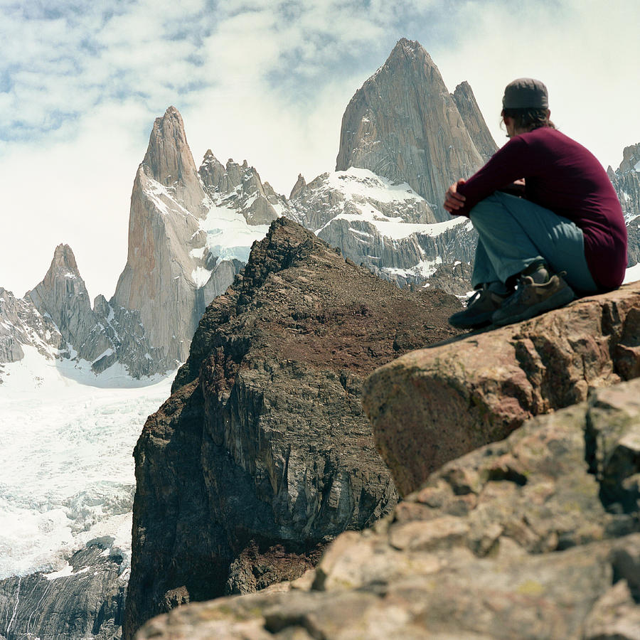 Adult Photograph - A Young Woman Gazes At Cerro Fitzroy by Kari Medig