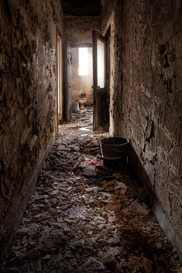 Asylum Photograph - Abandoned Building - Hallway To Ladies Room by Gary Heller