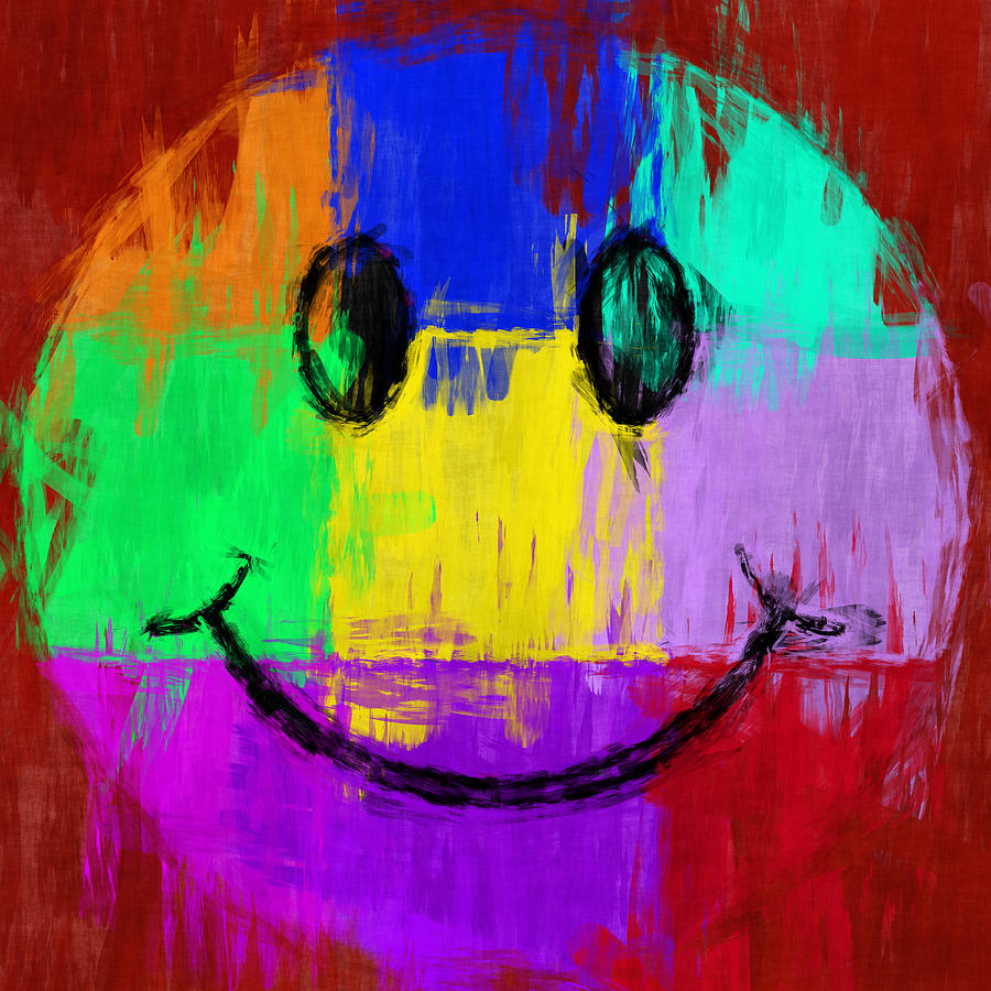 Smiley Digital Art - Abstract Smiley Face by David G Paul