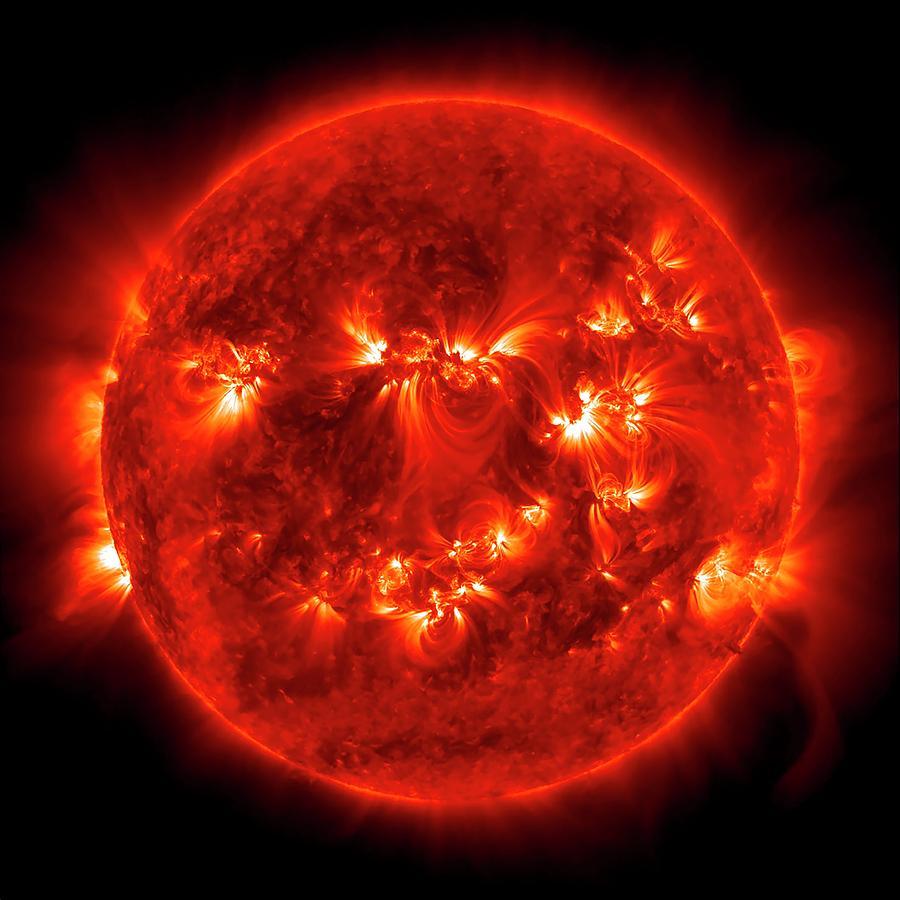 Sun Photograph - Active Sun by Nasa/sdo/science Photo Library