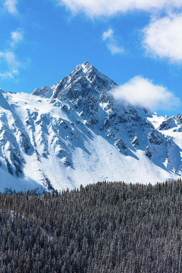 Vertical Photograph - Aerial Of Mount Sneffels With Snow by Panoramic Images