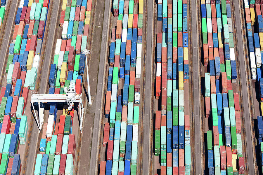 Aerial View Of A Large Container Photograph by Opla