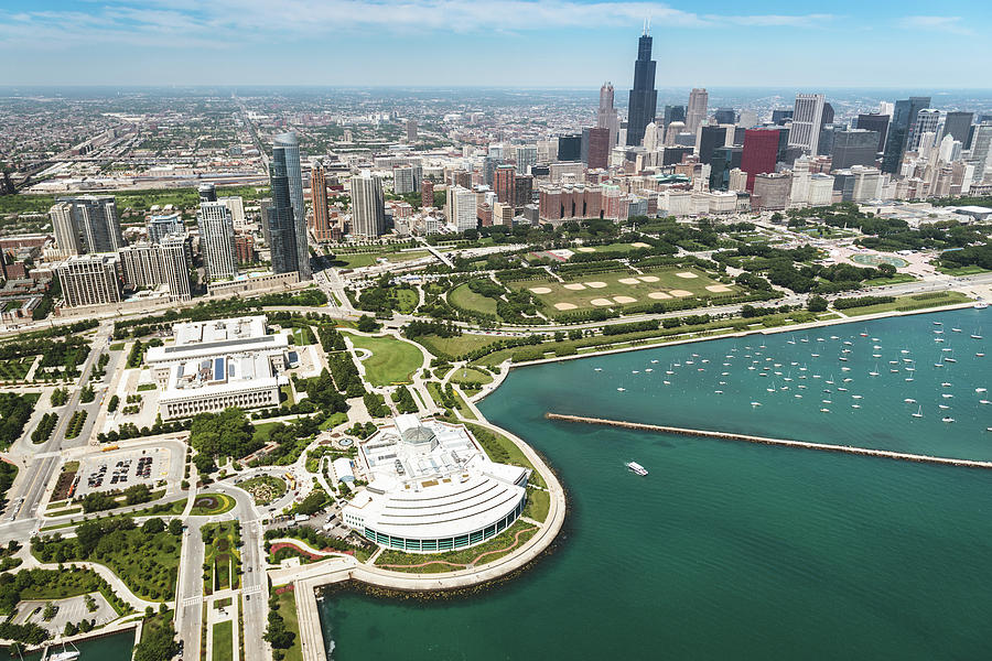 Aerial View Of The Downtown In Chicago Photograph by Franckreporter