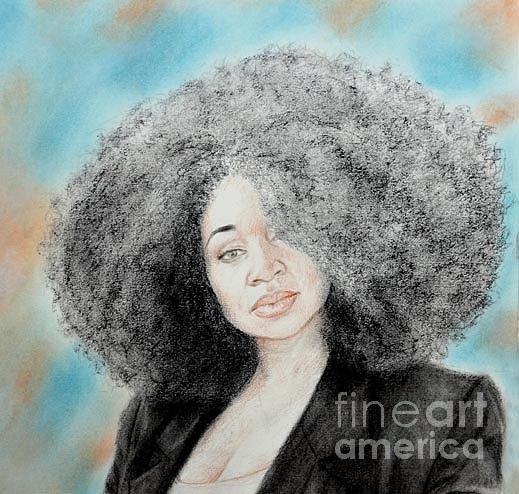 Jim Fitzpatrick Drawing - Aevin Dugas Holder Of The Guinness Book Of World Records For The Biggest Afro by Jim Fitzpatrick