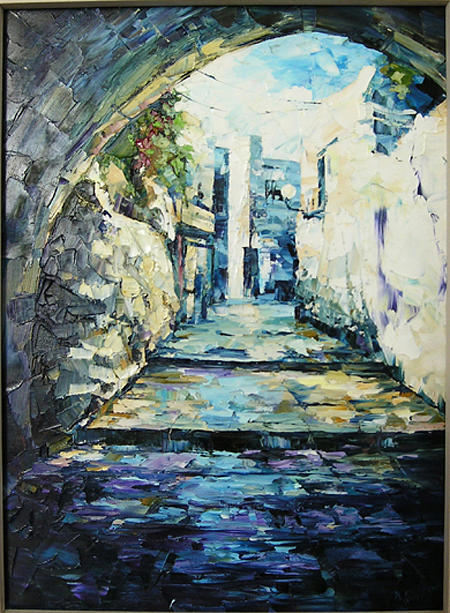 City Landscape Painting - After The Rain by Keren Gorzhaltsan