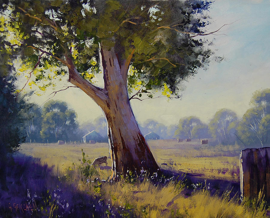 Farm Painting - Afternoon Light Grazing by Graham Gercken