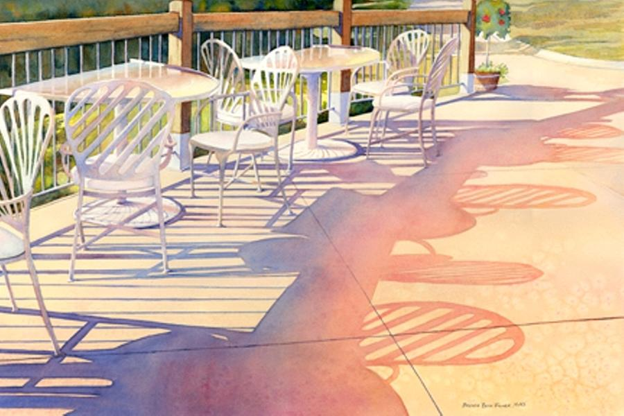 Patio Table And Chairs Painting - Afternoon Shadows At Les Bourgeois by Brenda Beck Fisher