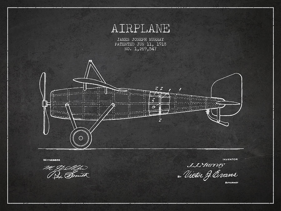 Airplane Digital Art - Airplane Patent Drawing From 1918 by Aged Pixel