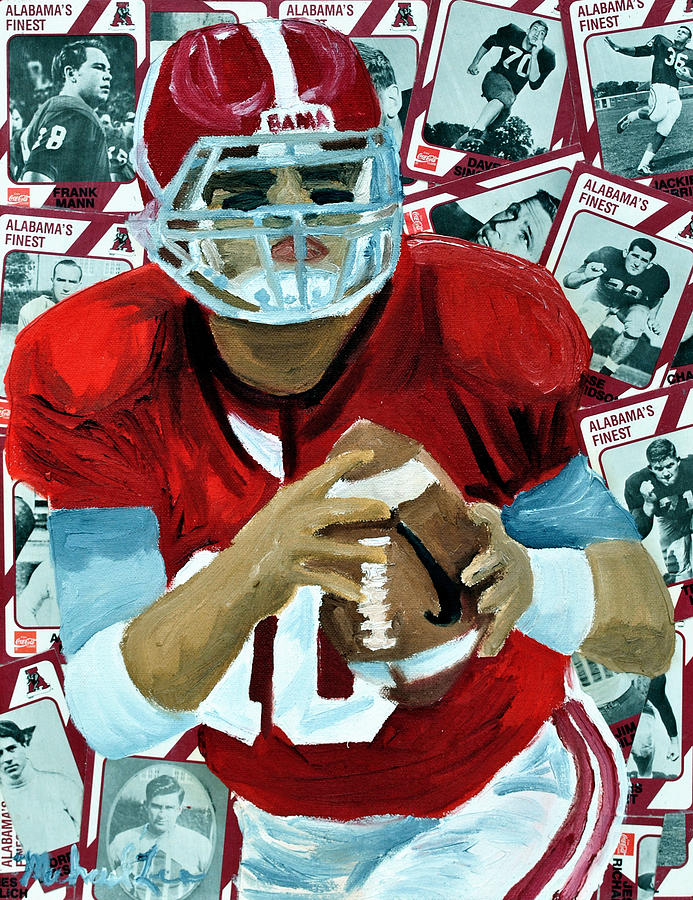 Alabama Painting - Alabama Quarter Back #10 by Michael Lee