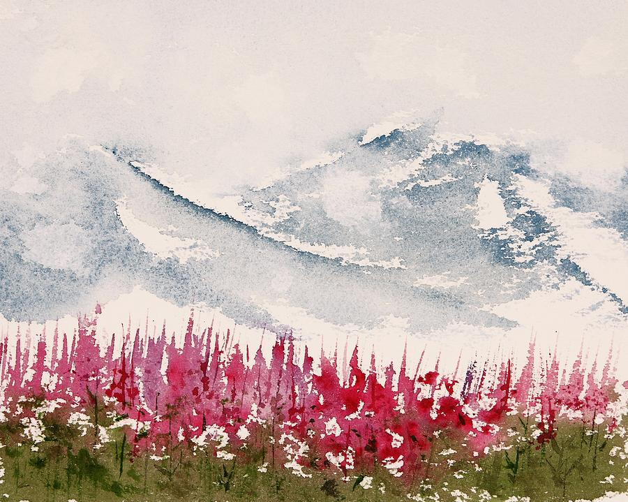 Alaska Painting - Alaska Fireweed  by Carolyn Doe